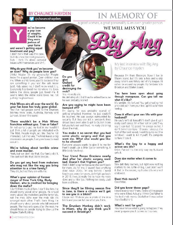 My last interview with Big Ang