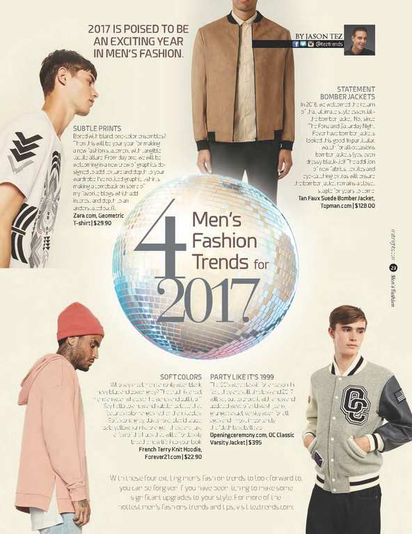 4 Men's Fashion Trends for 2017