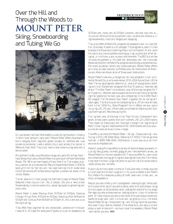 Over the Hill and Through the Woods to Mount Peter Skiing, Snowboarding and Tubing We Go