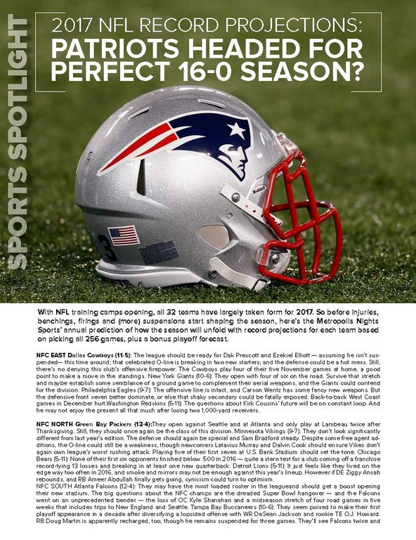 2017 NFL record projections: Patriots headed for perfect 16-0 season ?