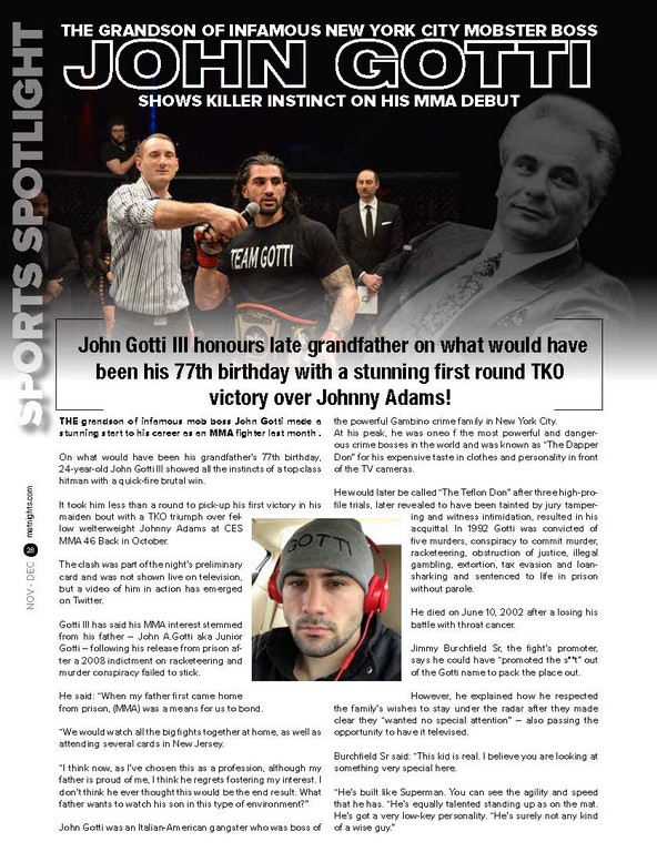 The Grandson of infamous New York City mobster boss John Gotti shows killer instinct on his MMA debut