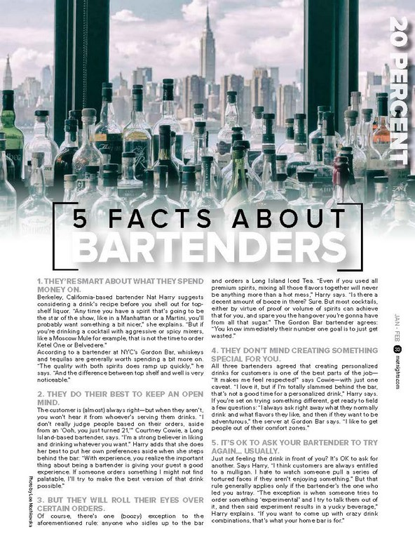 5 FAC T S A BOUT BARTENDERS