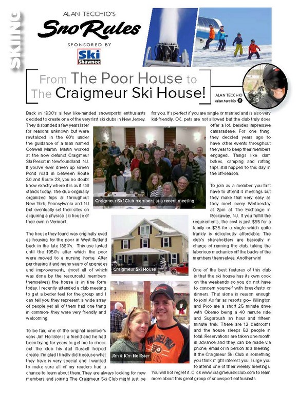 From The Poor House to The Craigmeur Ski House!