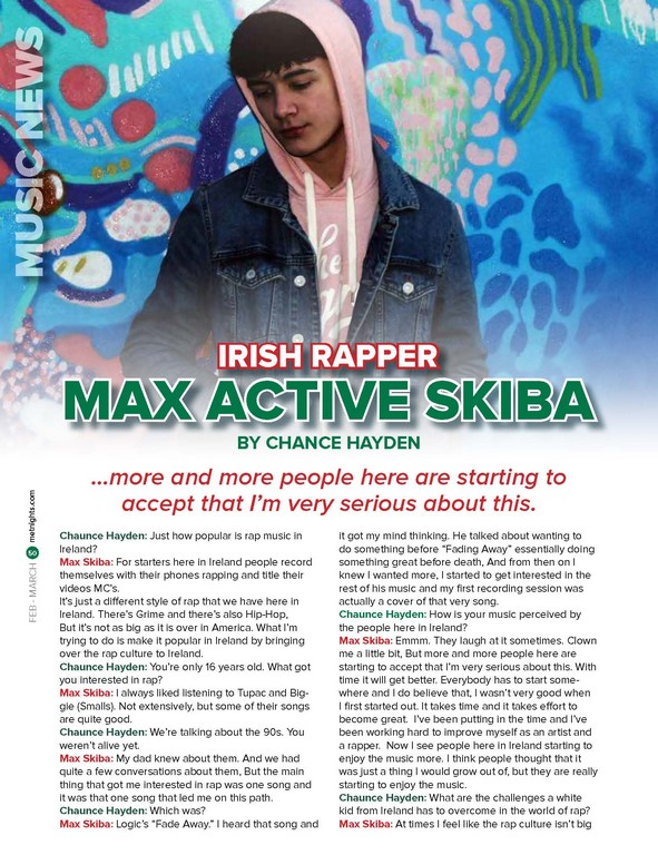 Irish rapper Max ACTIVE Skiba