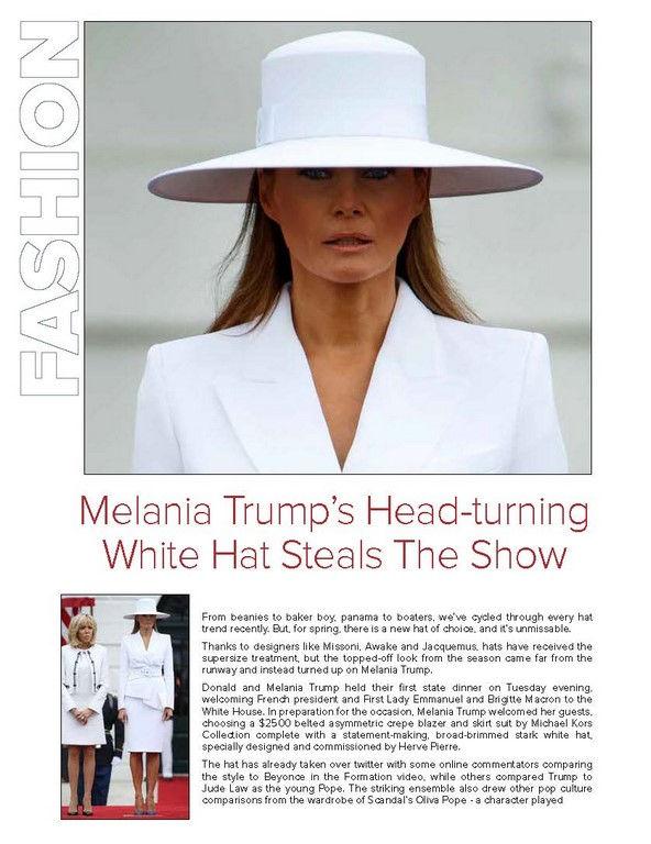 Melania Trump's Head-turning White Hat Steals The Show