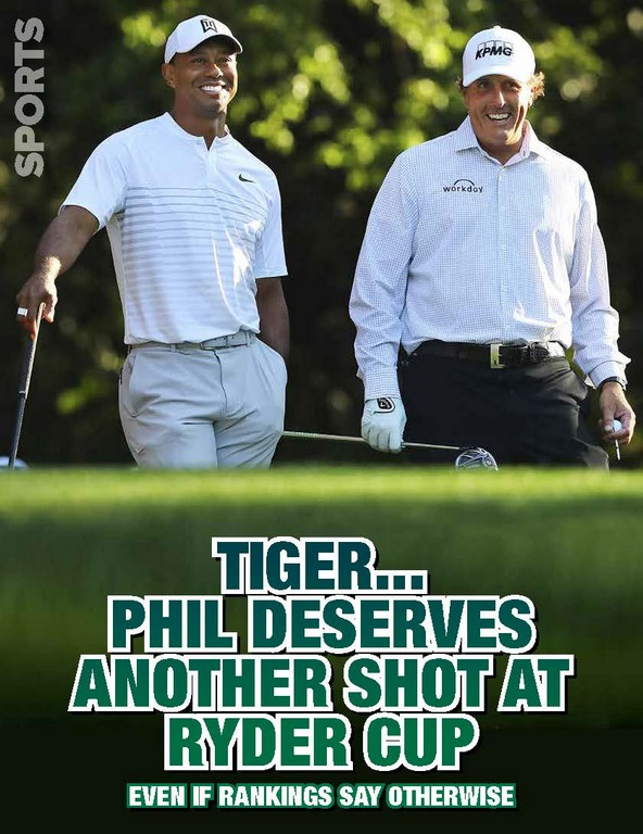 TIGER…PHIL DESERVES ANOTHER SHOT AT RYDER CUP