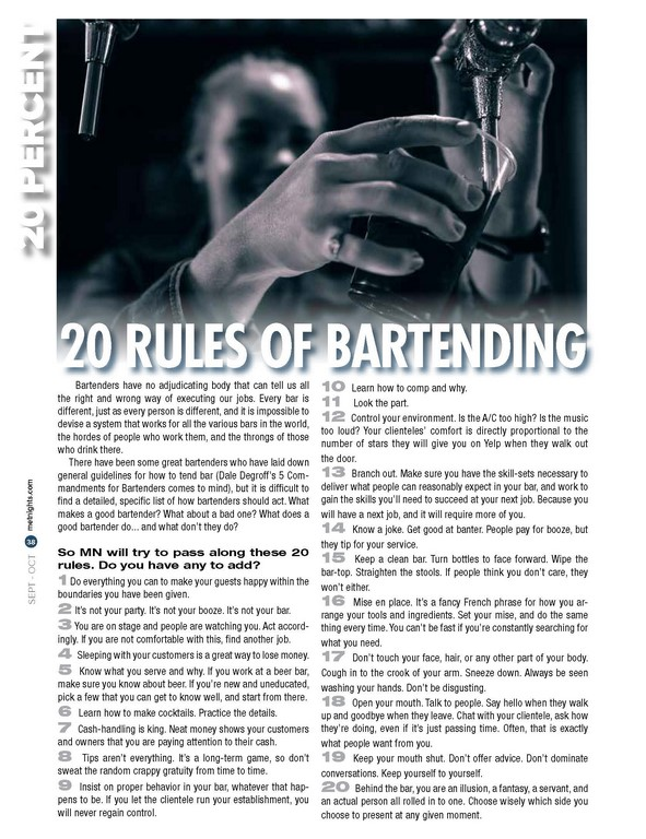 20 RULES OF BARTENDING