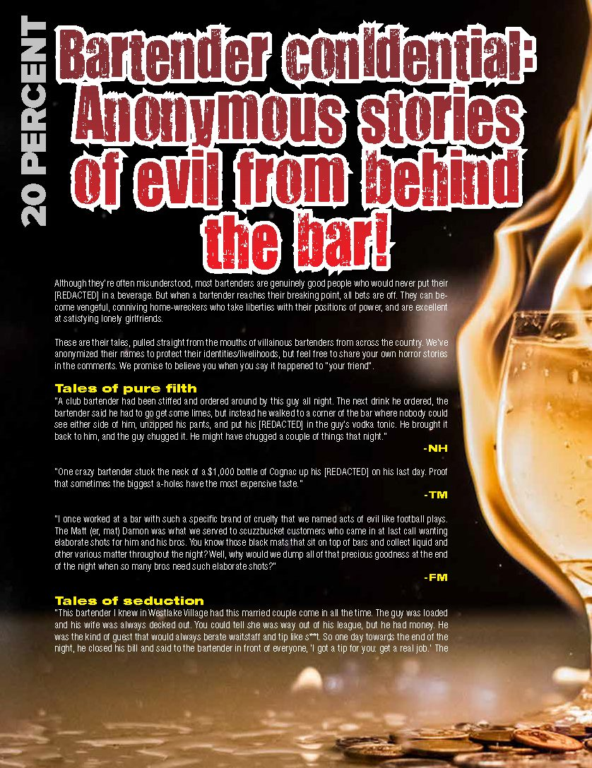 Bartender conIdential: Anonymous stories of evil from behind the bar!