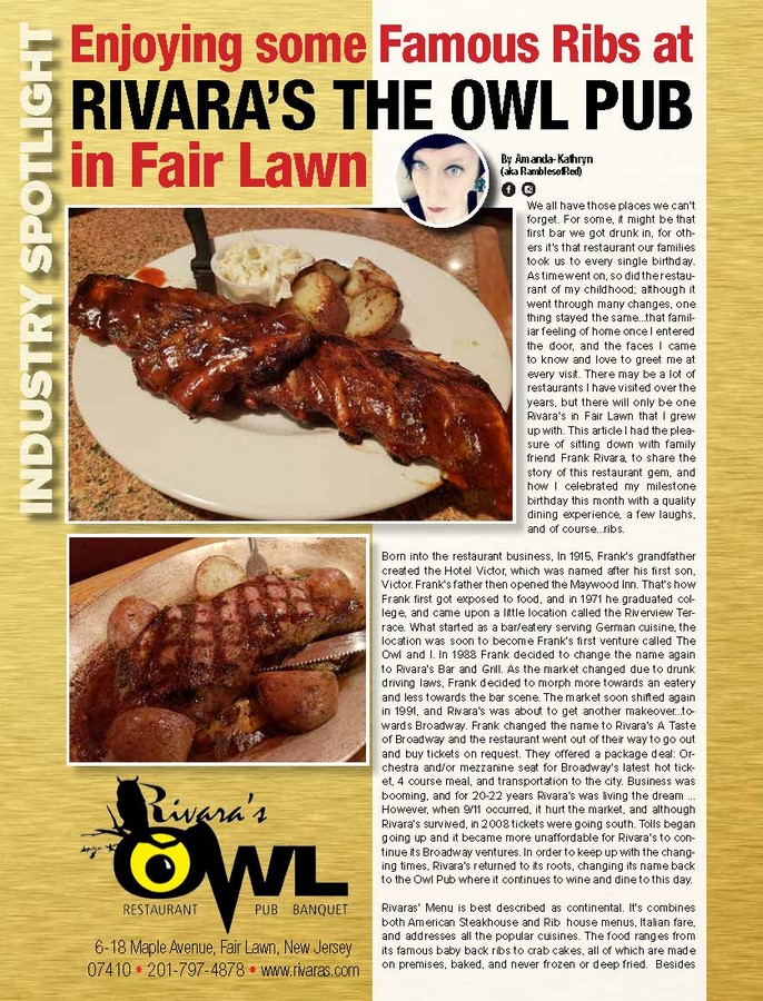 Enjoying some Famous Ribs at Rivara's The Owl Pub in Fair Lawn