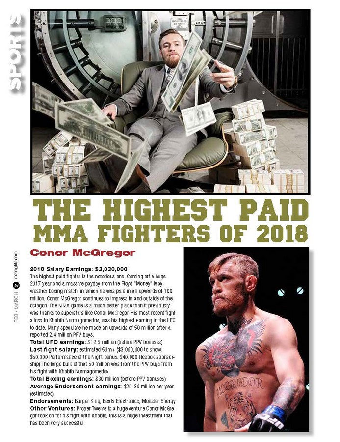 The Highest Paid MMA Fighters of 2018