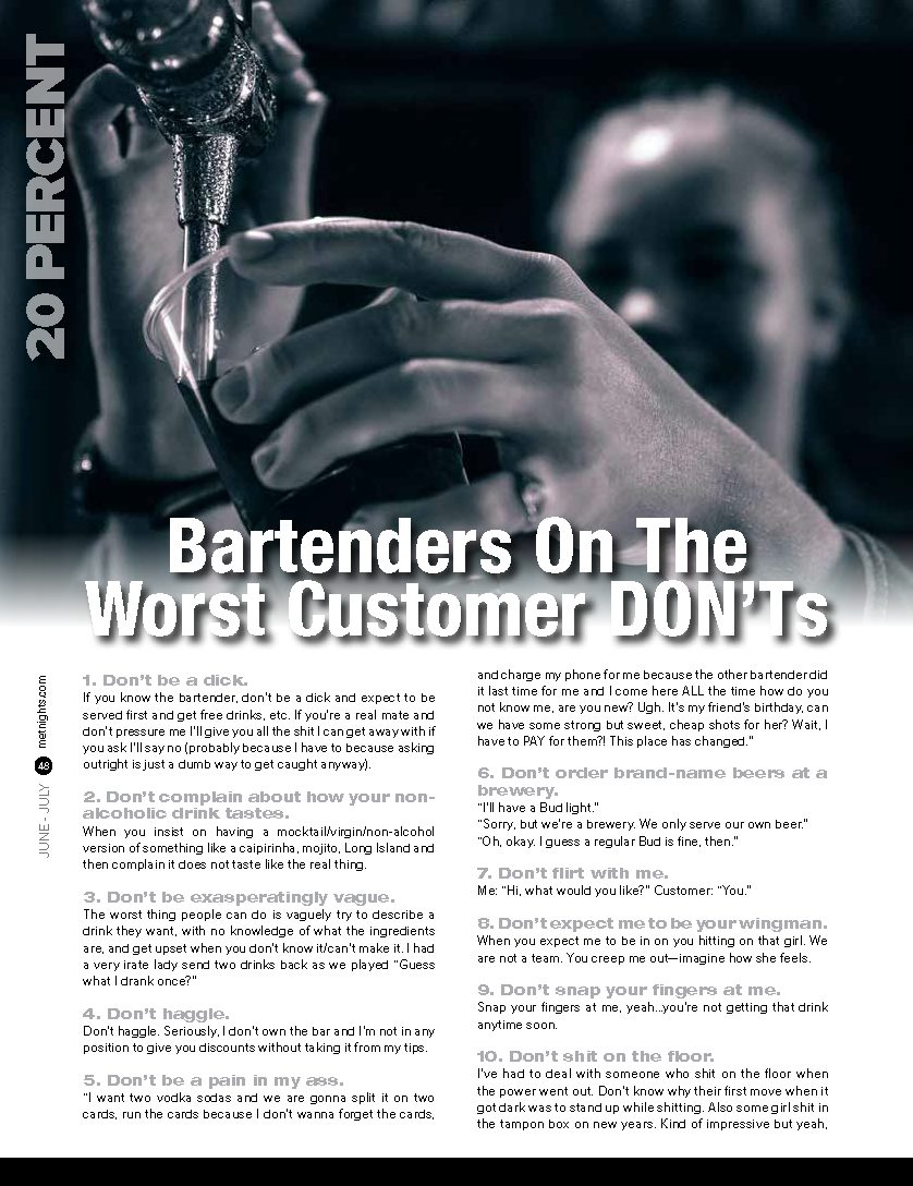 Bartenders On The Worst Customer DON'Ts