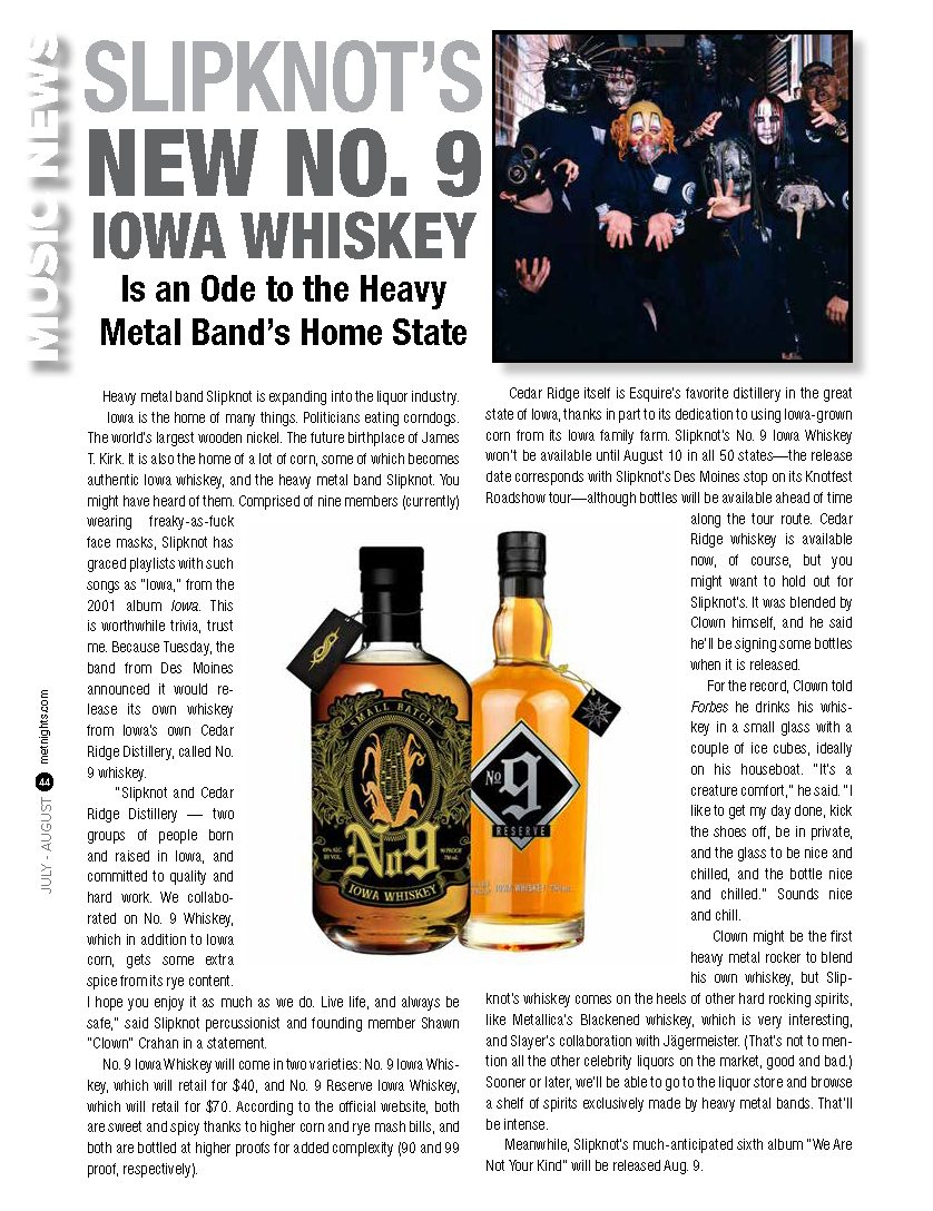 Slipknot's New No. 9 Iowa Whiskey