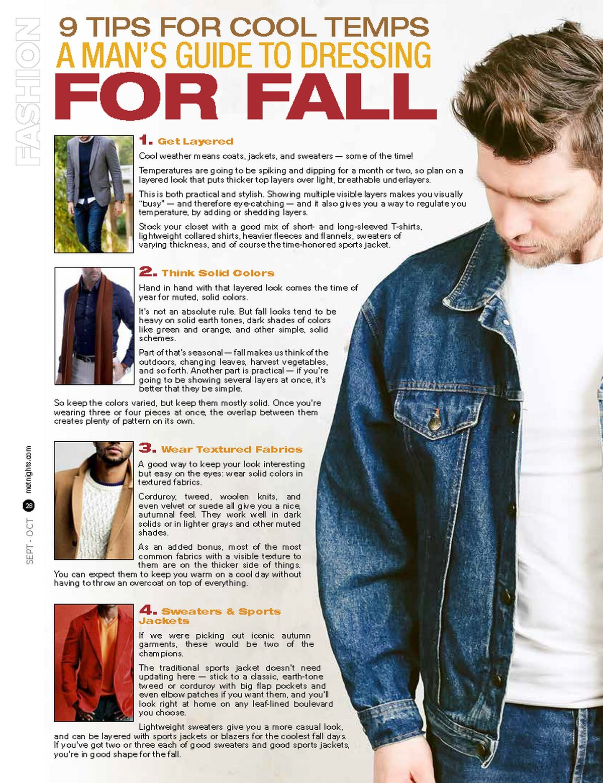 9 TIPS FOR COOL TEMPS A MAN'S GUIDE TO DRESSING FOR FALL